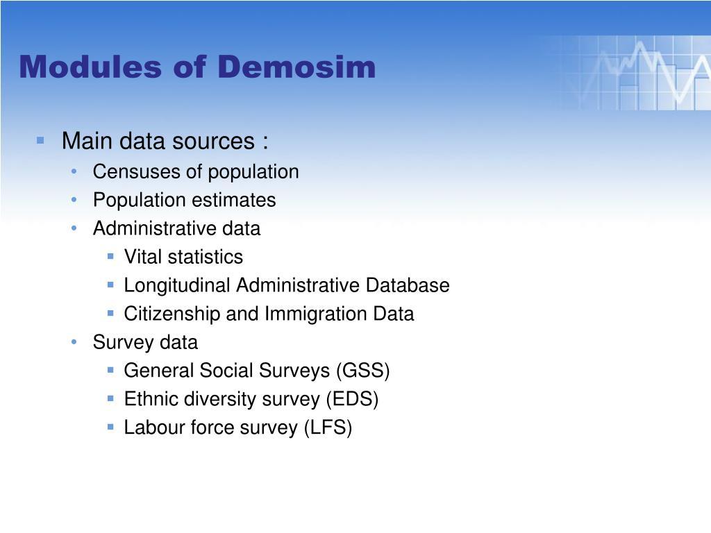 Main data sources :