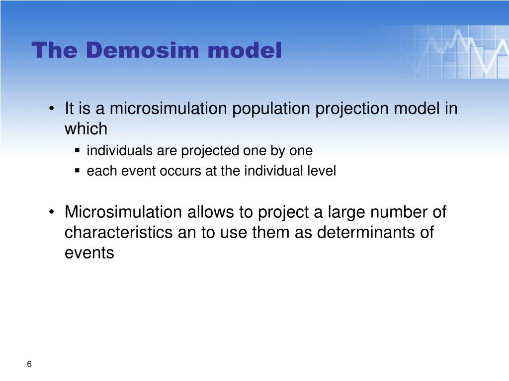 It is a microsimulation population projection model in which