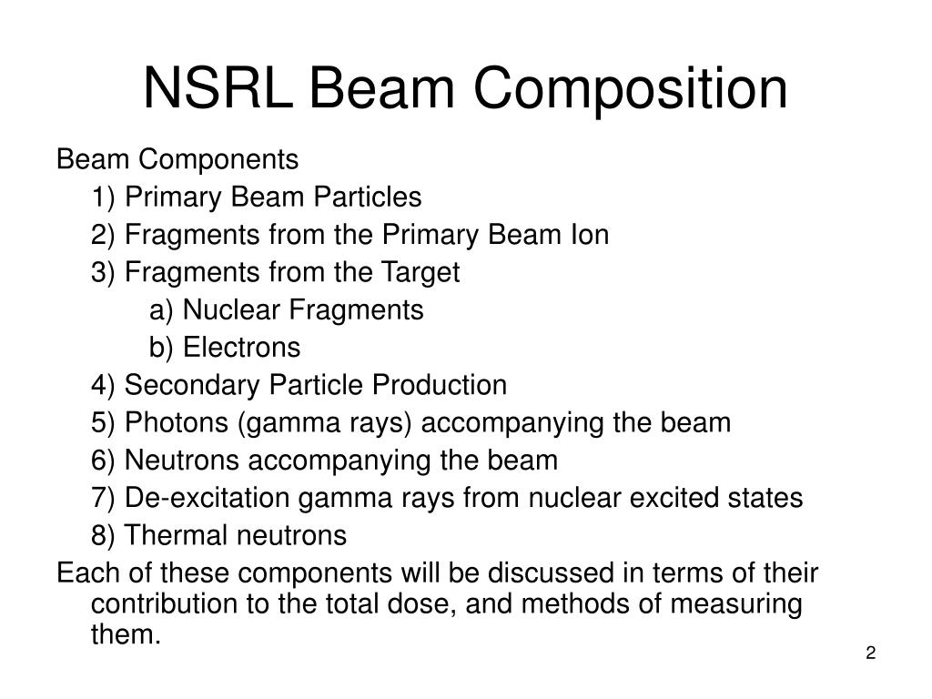NSRL Beam Composition