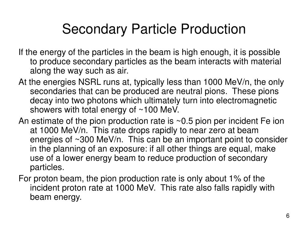 Secondary Particle Production