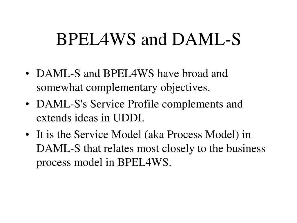 BPEL4WS and DAML-S