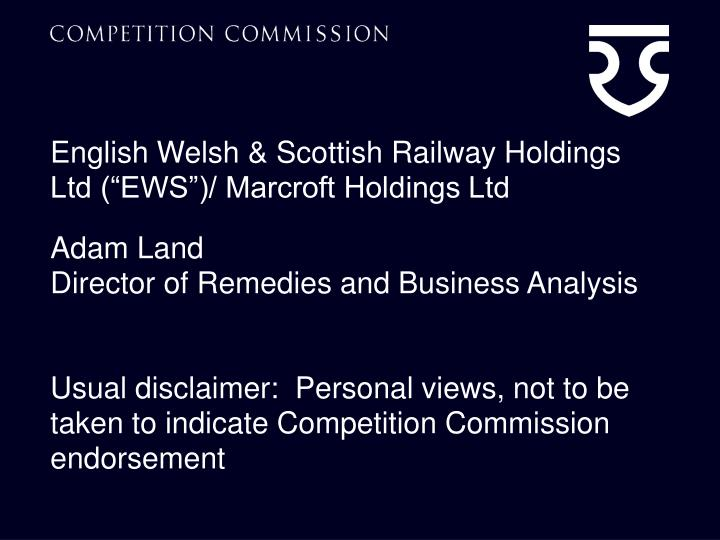 English welsh scottish railway holdings ltd ews marcroft holdings ltd