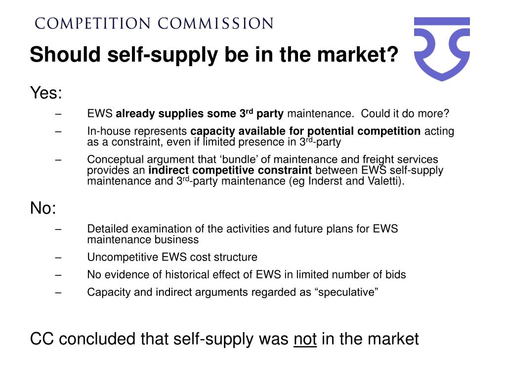 Should self-supply be in the market?