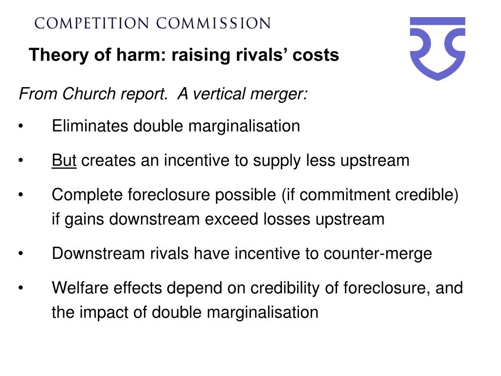 Theory of harm: raising rivals' costs