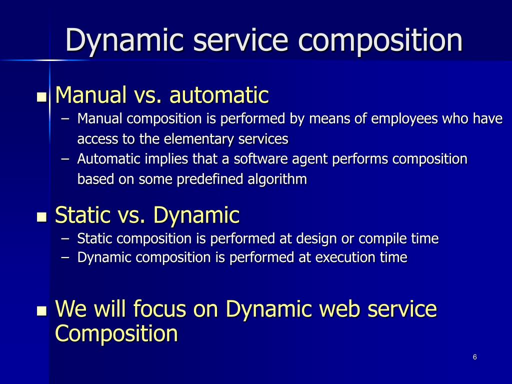 Dynamic service composition