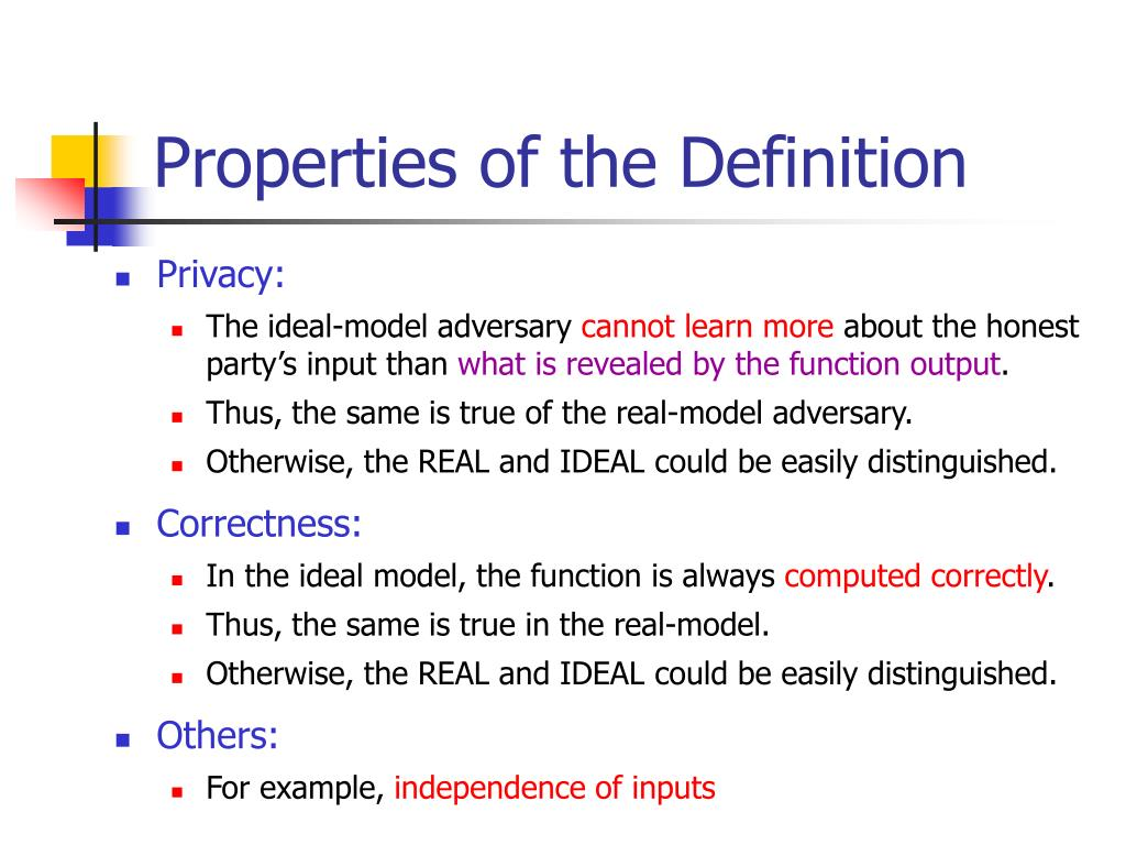 Properties of the Definition