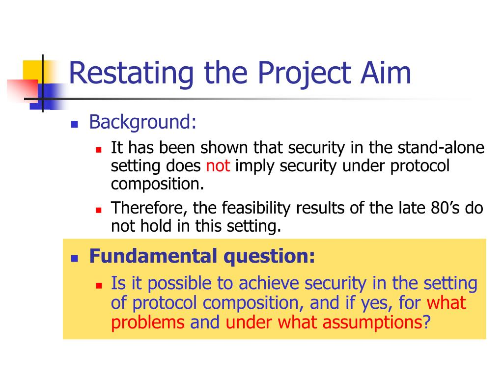 Restating the Project Aim