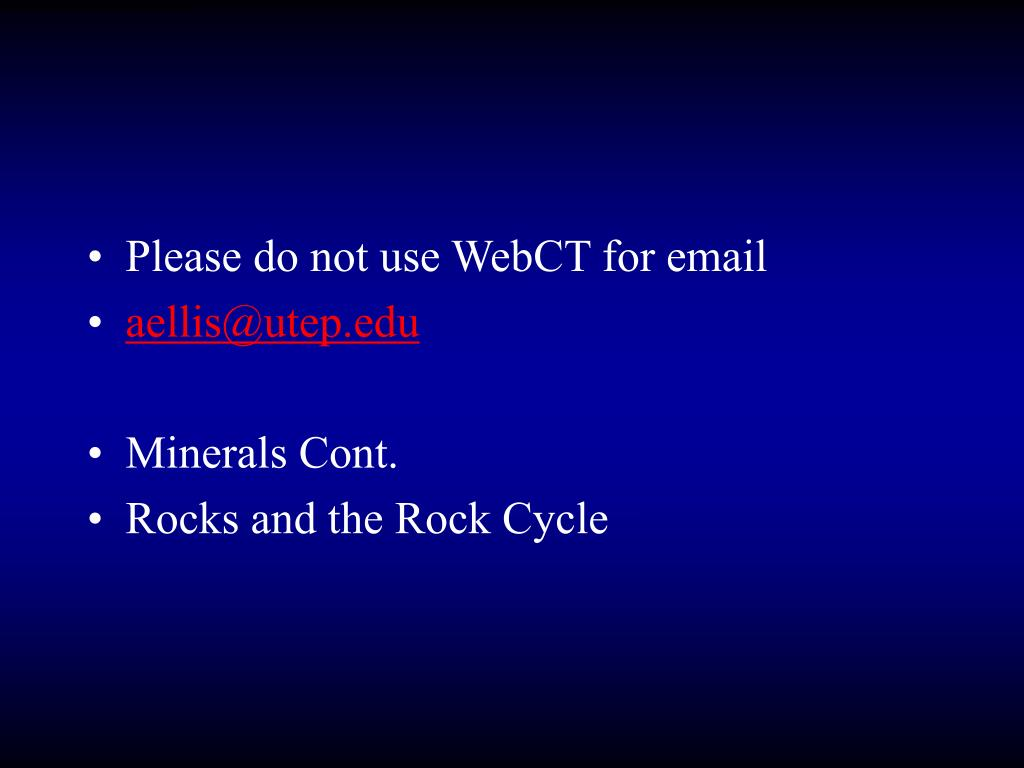 Please do not use WebCT for email