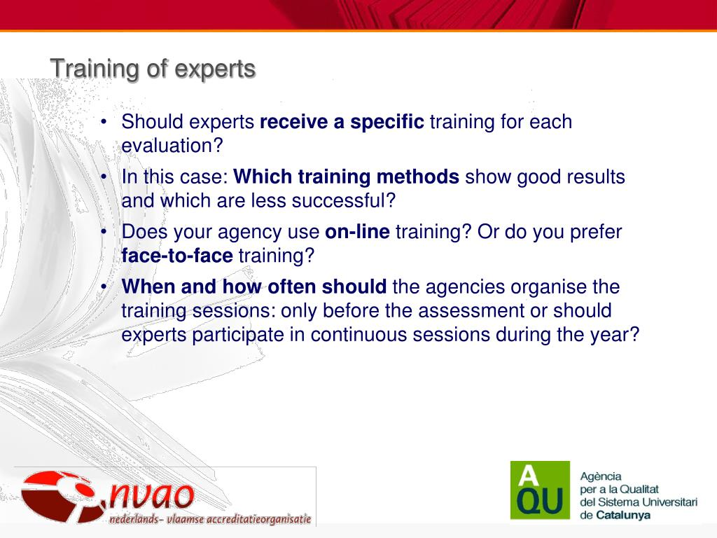 Training of experts