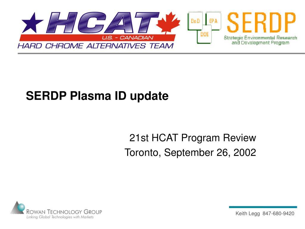 SERDP Plasma ID update