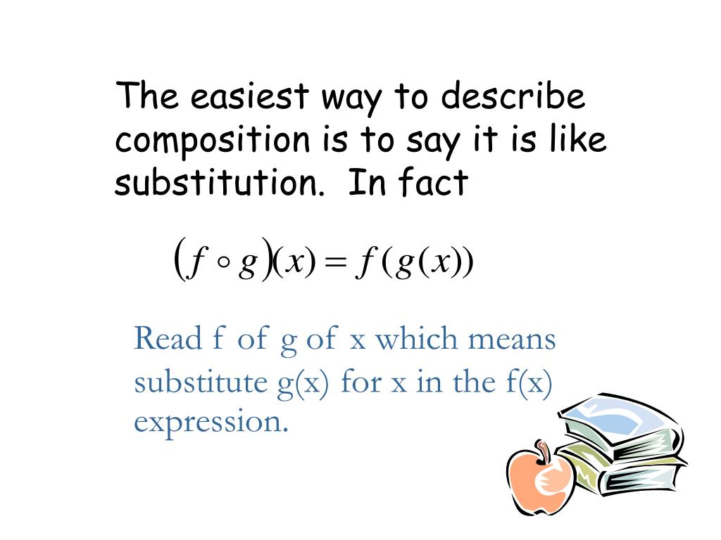 The easiest way to describe composition is to say it is like substitution.  In fact