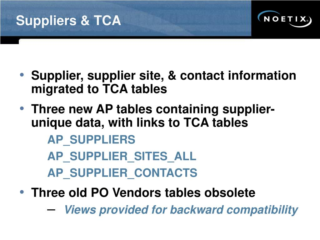 Suppliers & TCA