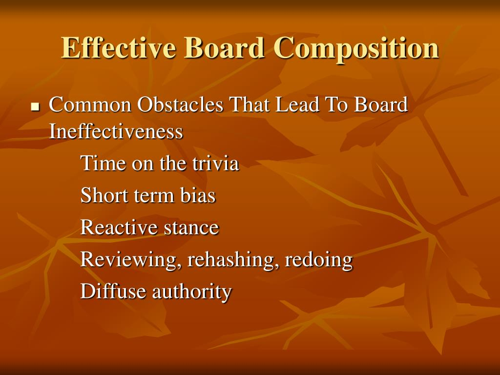 Effective Board Composition
