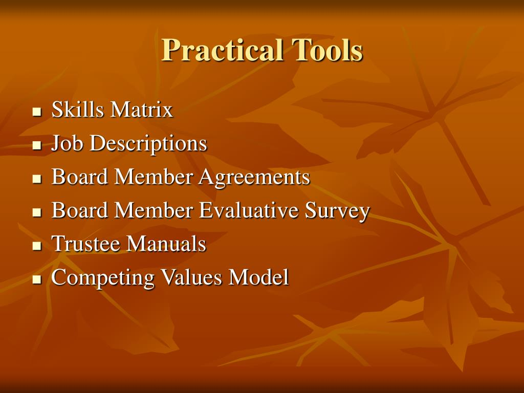 Practical Tools