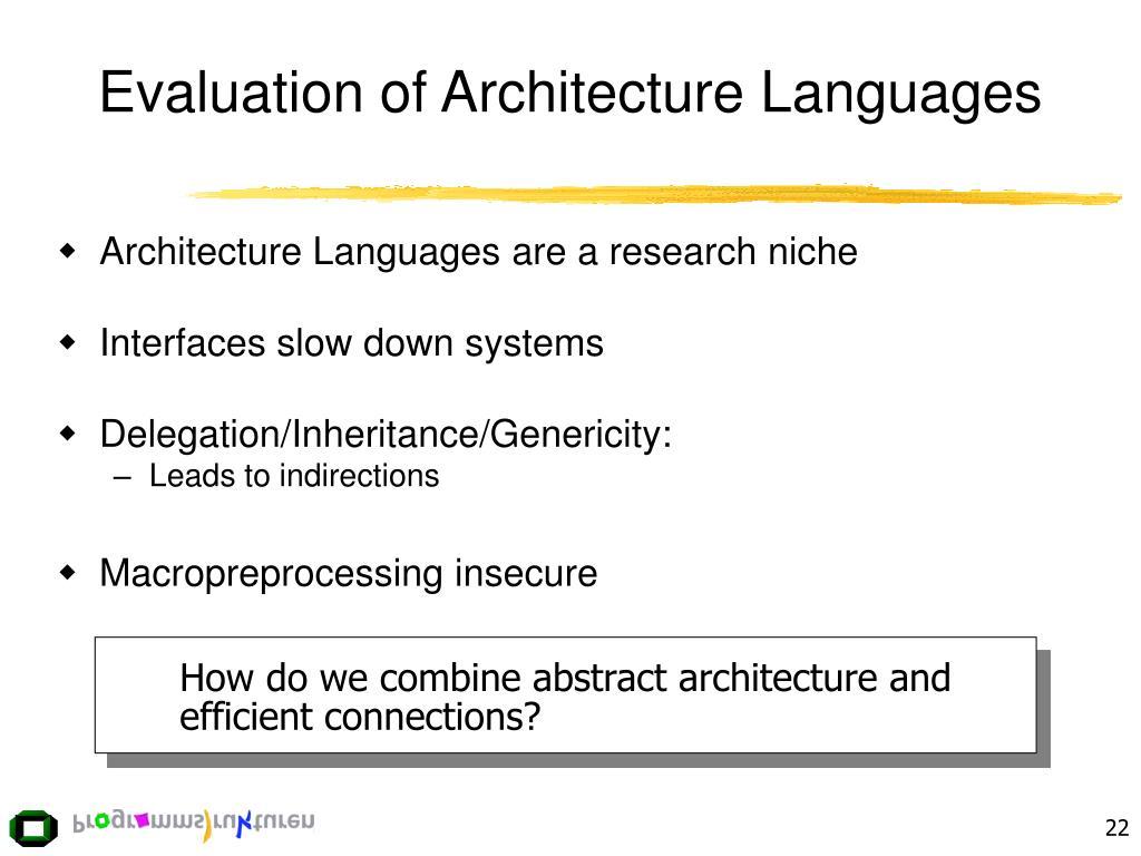 Evaluation of Architecture Languages