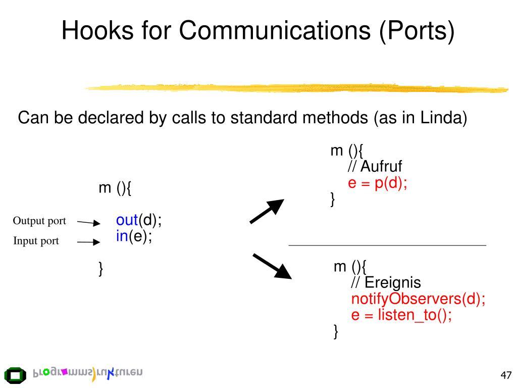 Hooks for Communications (Ports)