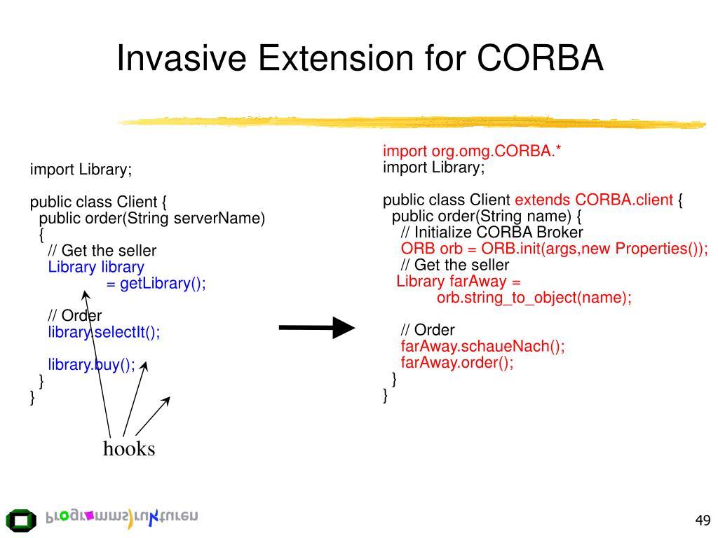 Invasive Extension for CORBA