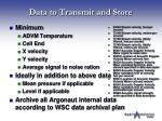 data to transmit and store