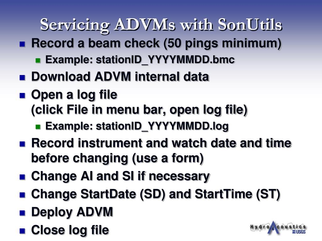 Servicing ADVMs with SonUtils