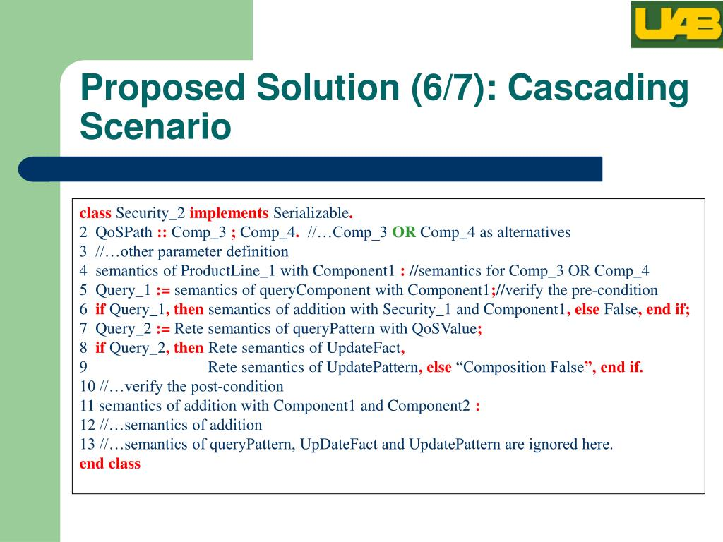 Proposed Solution (6/7): Cascading Scenario