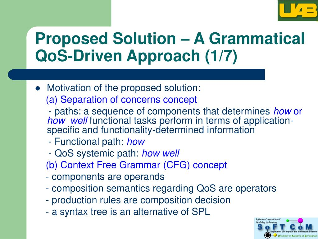 Proposed Solution – A Grammatical QoS-Driven Approach (1/7)