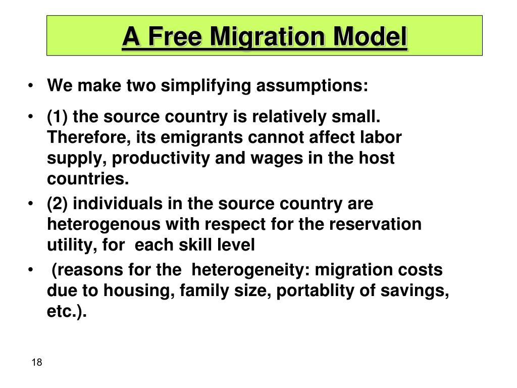 A Free Migration Model
