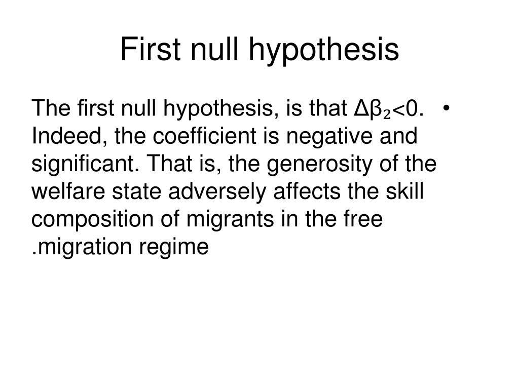 First null hypothesis