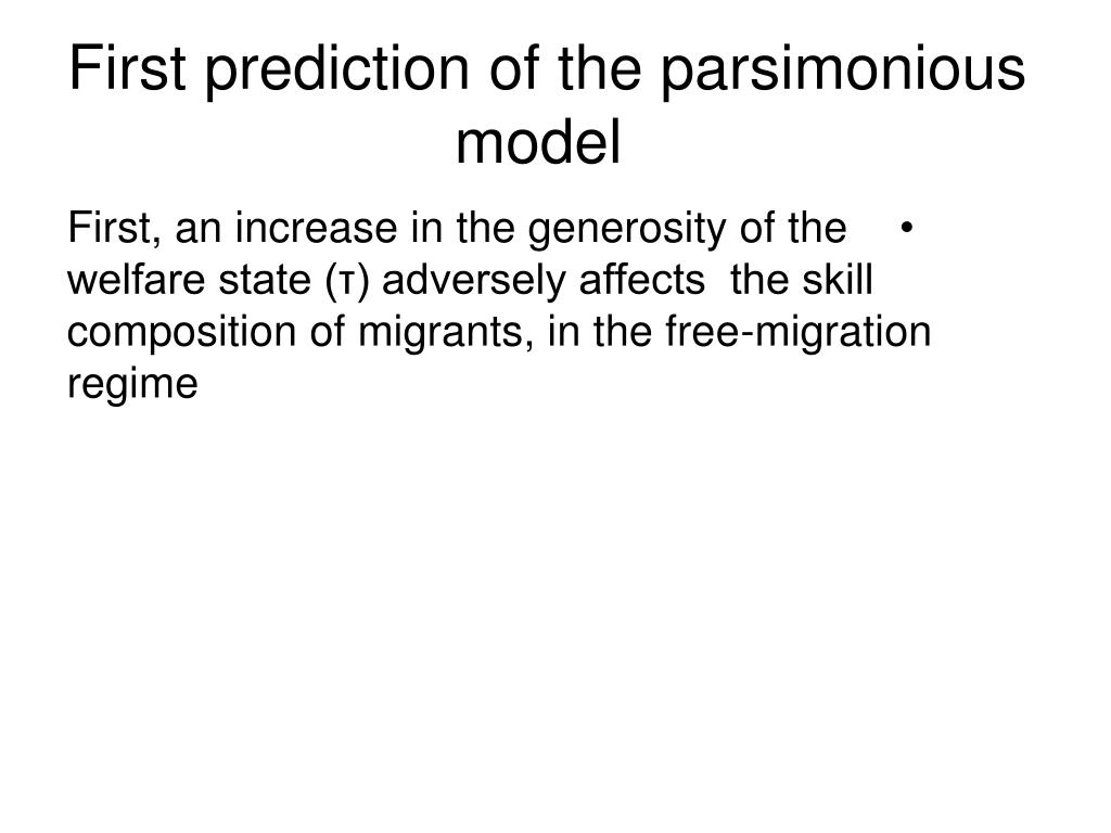 First prediction of the parsimonious model