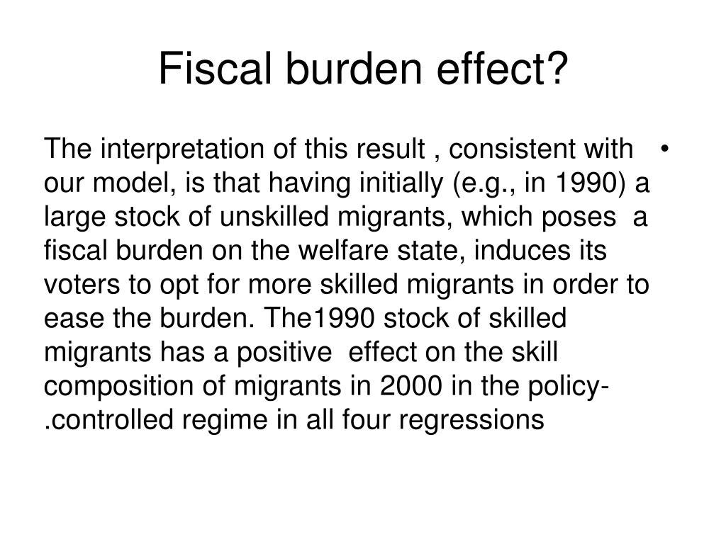 Fiscal burden effect?