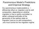 parsimonious model s predictions and empirical strategy