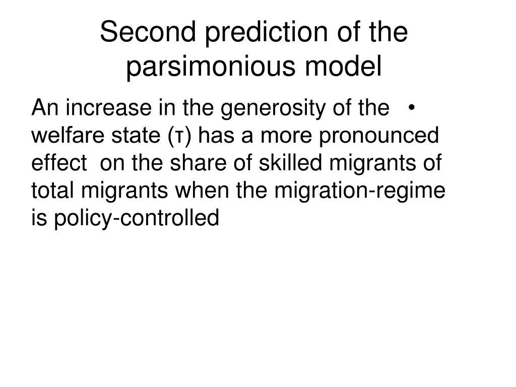 Second prediction of the parsimonious model