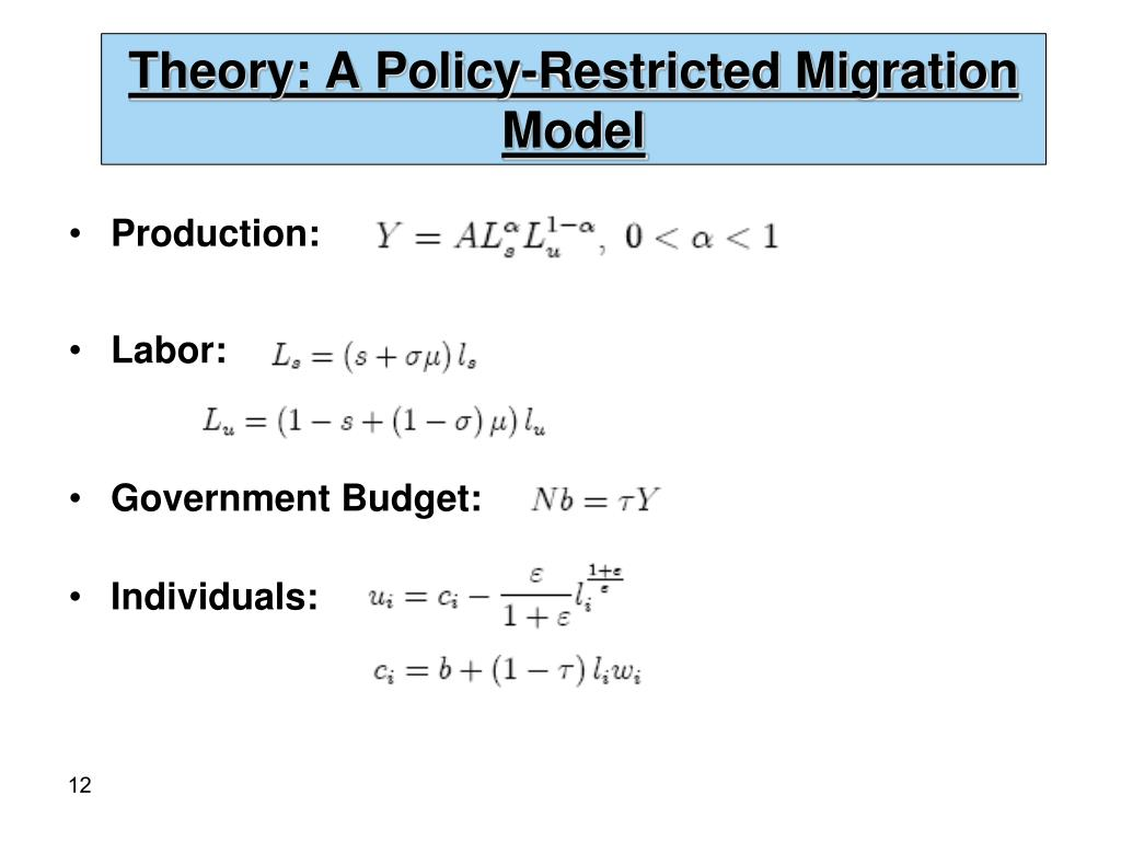 Theory: A Policy-Restricted Migration Model