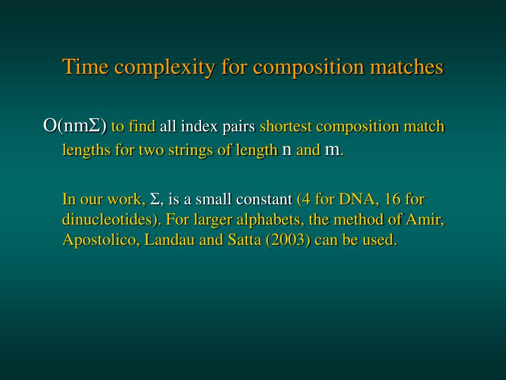 Time complexity for composition matches