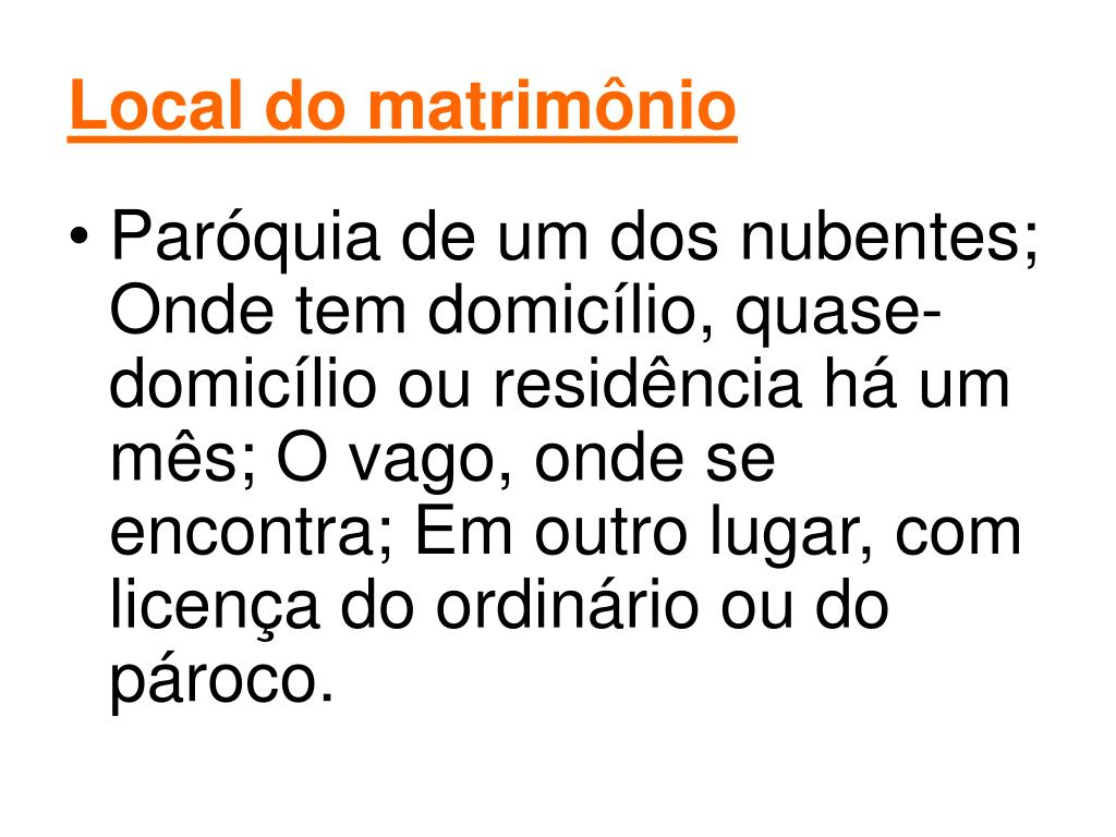Local do matrimônio