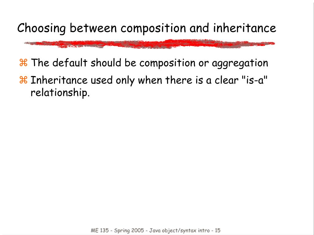Choosing between composition and inheritance