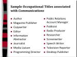 sample occupational titles associated with communications