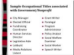 sample occupational titles associated with government nonprofit