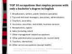 top 10 occupations that employ persons with only a bachelor s degree in english