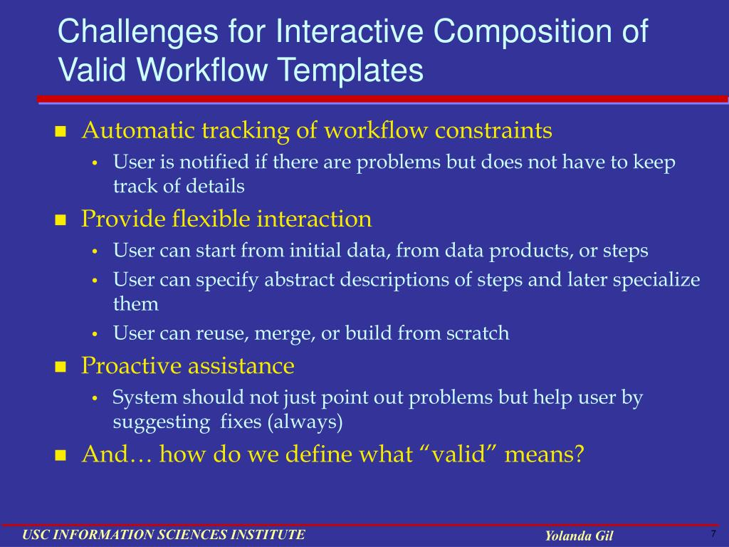 Challenges for Interactive Composition of Valid Workflow Templates