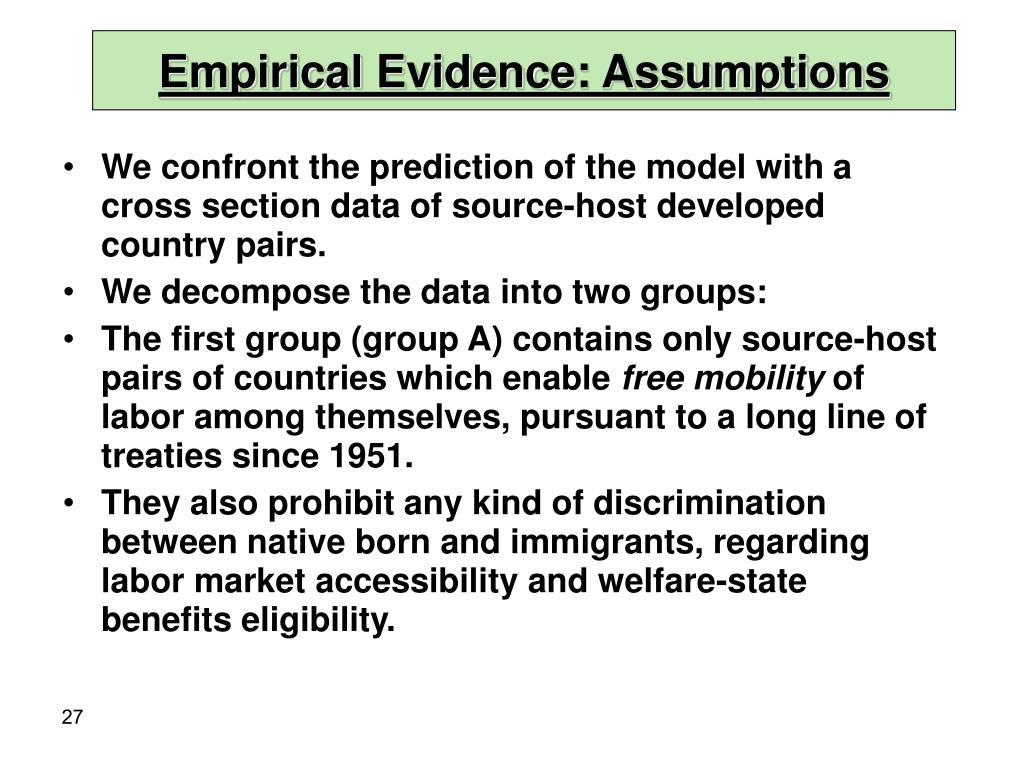 Empirical Evidence: Assumptions