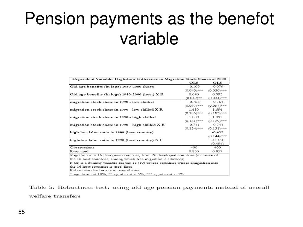 Pension payments as the benefot variable