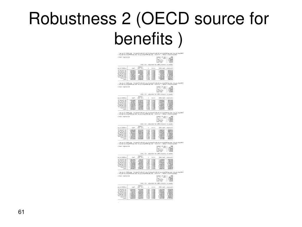 Robustness 2 (OECD source for benefits )