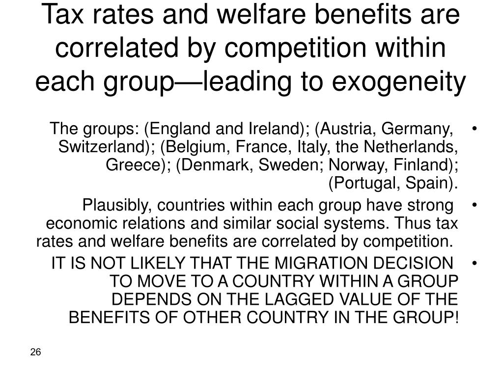Tax rates and welfare benefits are correlated by competition within each group—leading to exogeneity