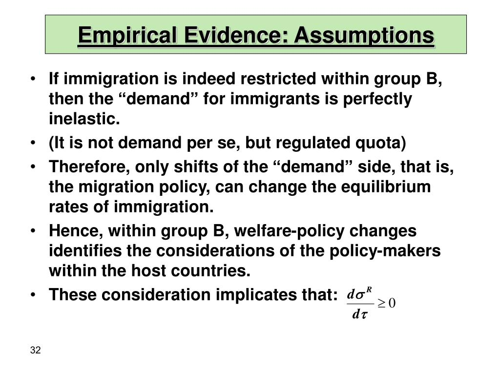 Empirical Evidence: Assumptions