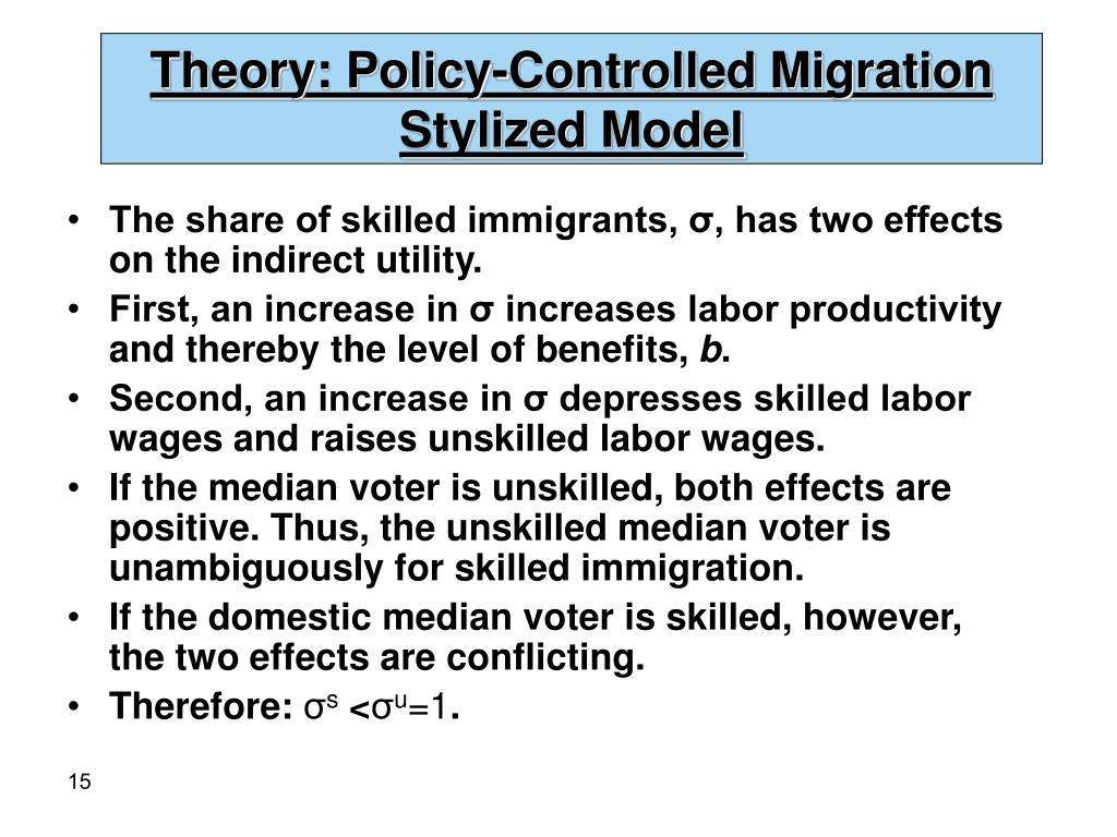 Theory: Policy-Controlled Migration Stylized Model