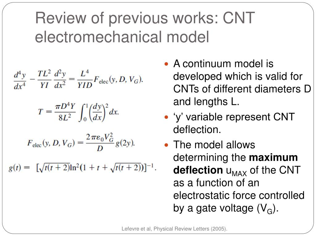 Review of previous works: CNT electromechanical model