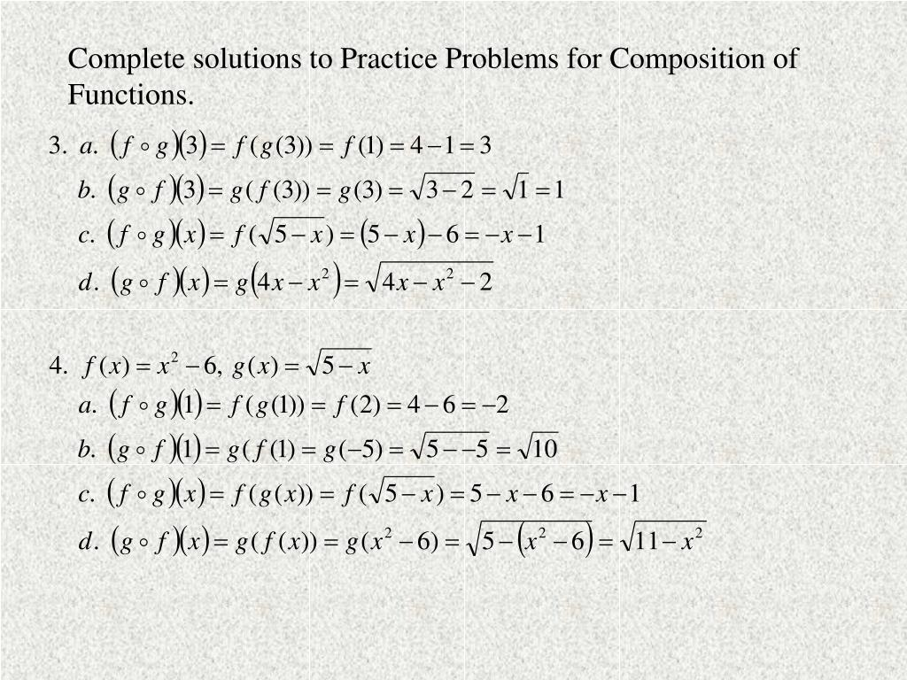 Complete solutions to Practice Problems for Composition of