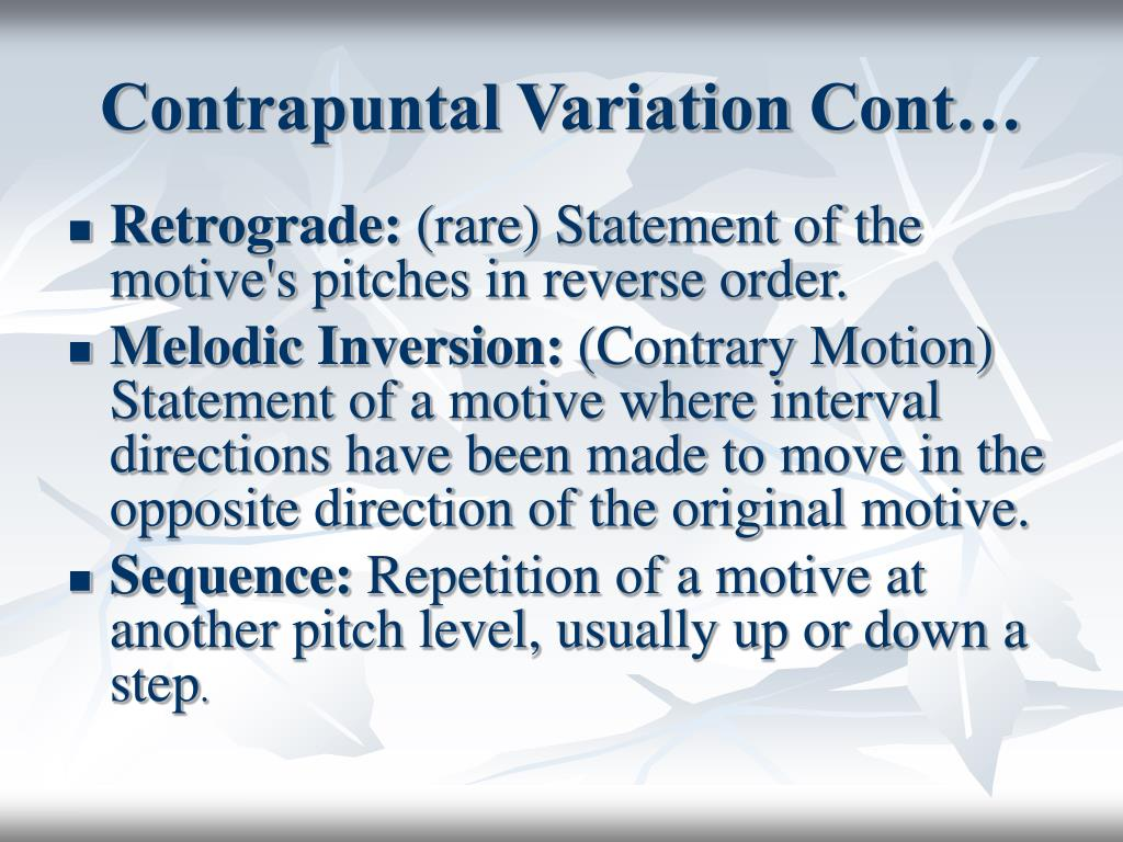 Contrapuntal Variation Cont…