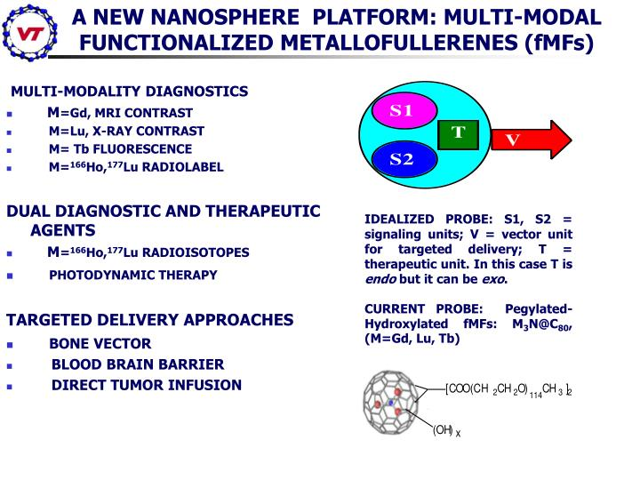 IDEALIZED PROBE: S1, S2 = signaling units; V = vector unit for targeted delivery; T = therapeutic unit. In this case T is