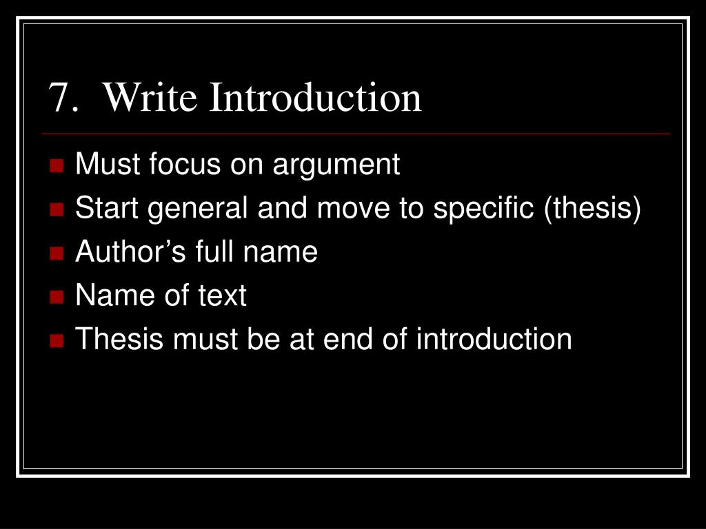 7.  Write Introduction